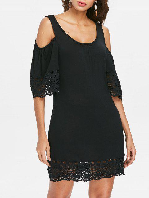Scoop Neck Lace Insert Shift Dress - BLACK 2XL