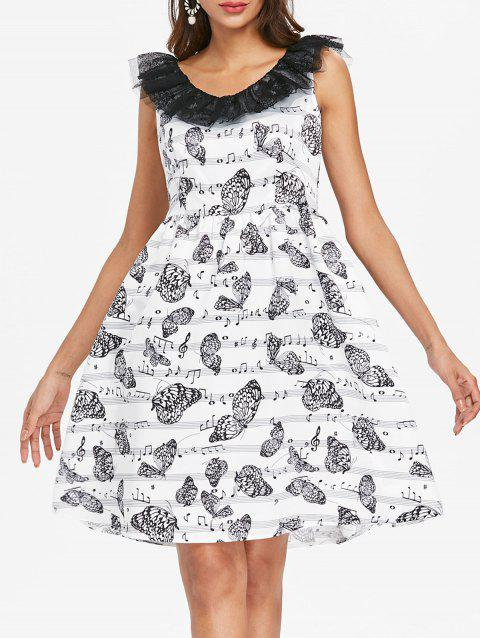 Music Note Butterfly Print Vintage Dress - WHITE S