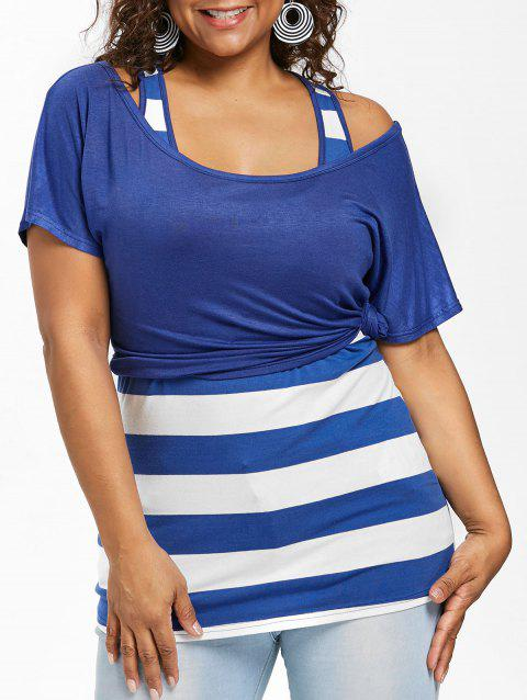 Plus Size Scoop Neck T-shirt and Tank Top - ROYAL BLUE 3X