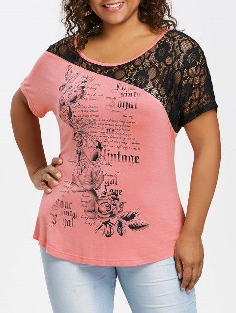 Plus Size Lace Panel Floral T-shirt - PINK 2X