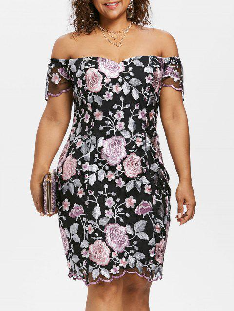 Floral Embroidery Plus Size Dress - multicolor L