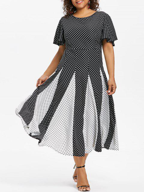 Polka Dot Print Plus Size A Line Dress - BLACK 5X