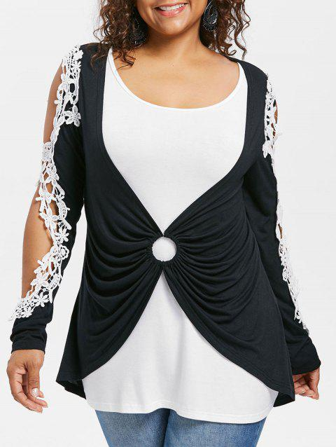Plus Size Cut Out Lace Panel T-shirt - BLACK 3X