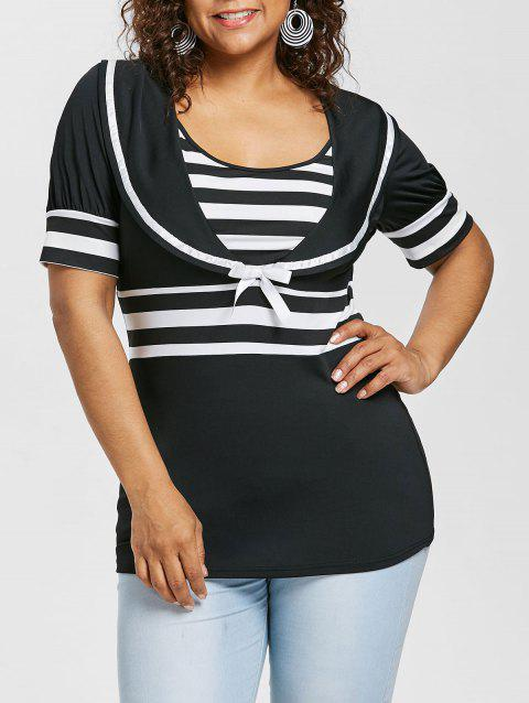 Plus Size Bowknot Embellished Sailor Collar T-shirt - BLACK 4X
