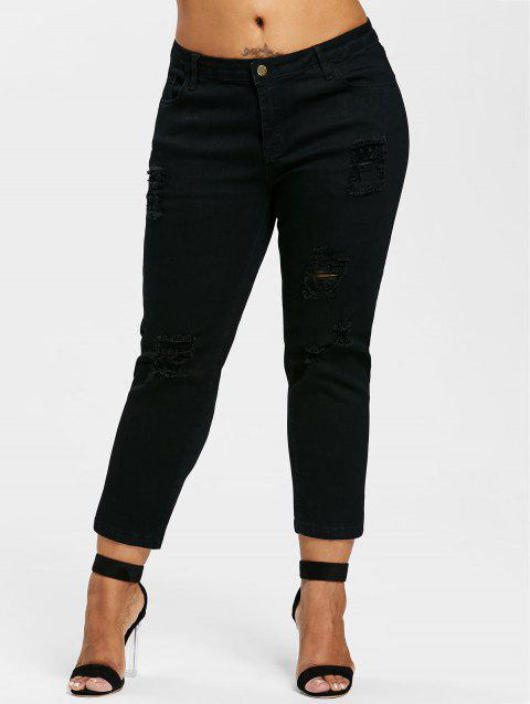 Plus Size Shredding Ankle Jeans - BLACK 1X
