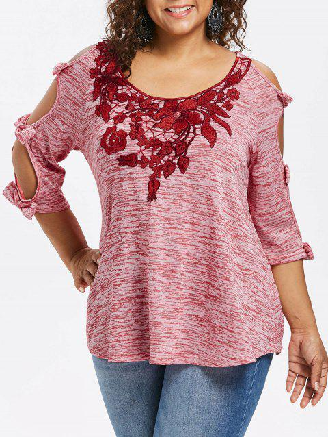 Plus Size Bowknot Embellished Cold Shoulder T-shirt - PINK BOW 1X