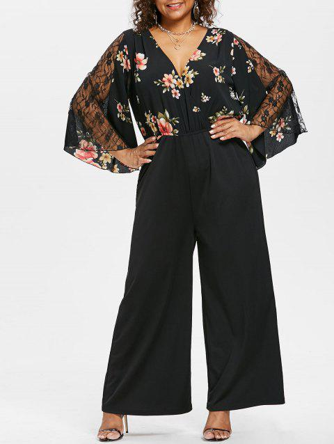 Plus Size Lace Insert Surplice Jumpsuit - BLACK 2X