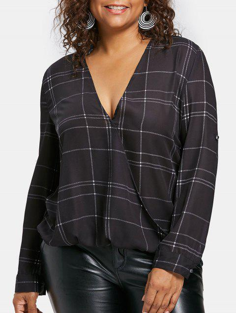 Plus Size Plaid Surplice Blouse - BLACK 1X