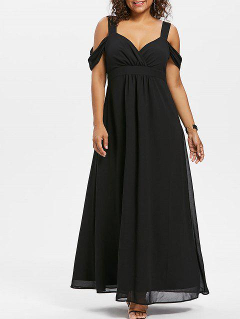 Sweetheart Neck Plus Size Empire Waist Maxi Dress - BLACK 4X