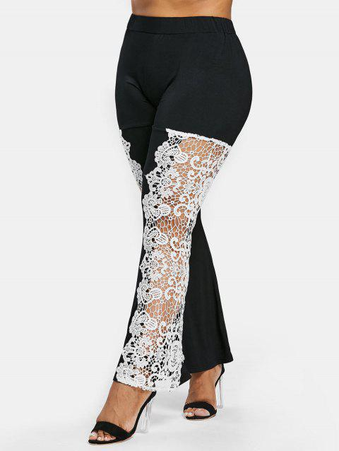 Plus Size Lace High Waisted Flare Leggings - BLACK 1X