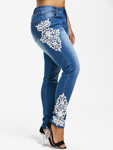 Plus Sized Faded Appliques Jeans - JEANS BLUE L