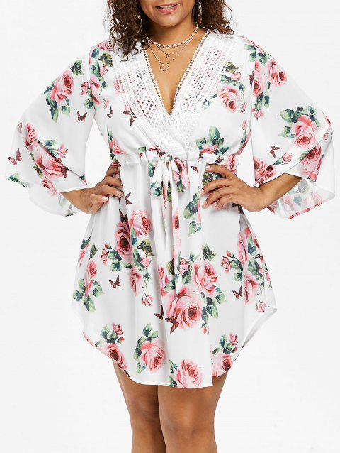 Plunging Neck Plus Size Floral Print Dress - WHITE 2X