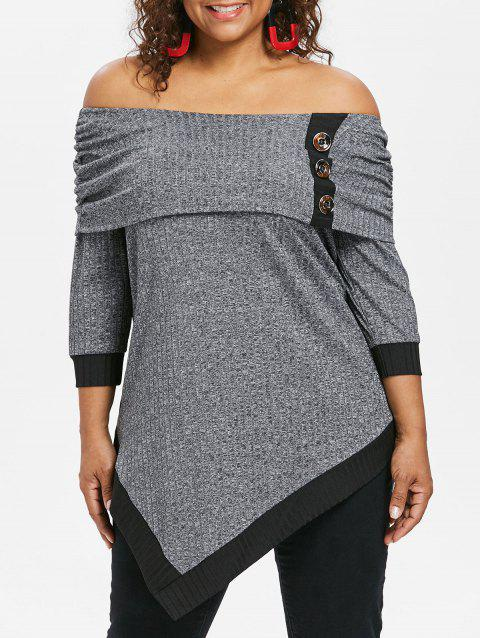 Plus Size Off Shoulder Marled Asymmetrical T-shirt - GRAY 2X