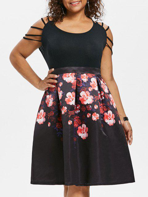 Plus Size Strappy Shoulder Floral Dress - BLACK 2X
