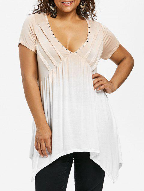 Plus Size Rivet Embellished Handkerchief T-shirt - APRICOT L