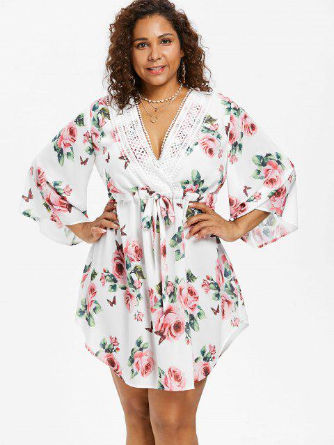 d811bf36cf 41% OFF] 2019 Plunging Neck Plus Size Floral Print Dress In WHITE ...