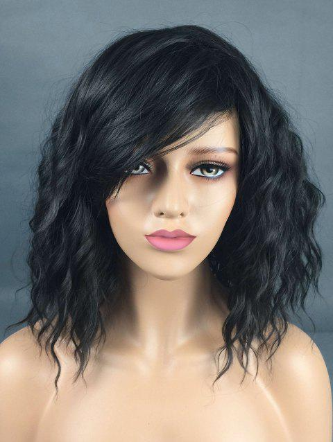 Medium Inclined Fringe Natural Wavy Synthetic Wig - BLACK