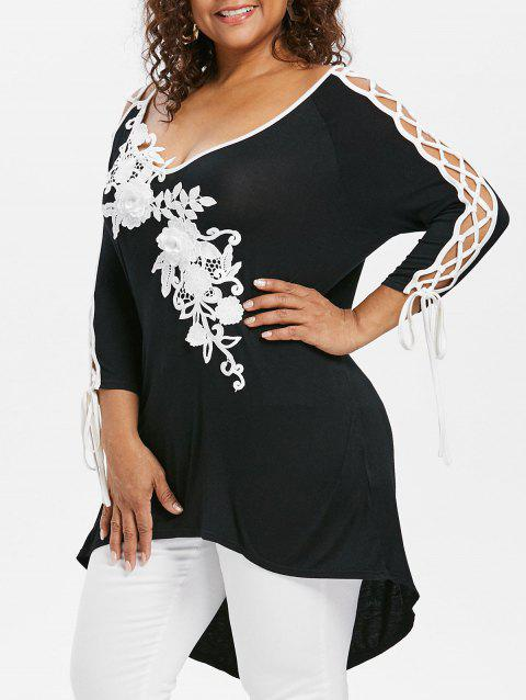 Plus Size Lace Up V Neck T-shirt - BLACK 3X