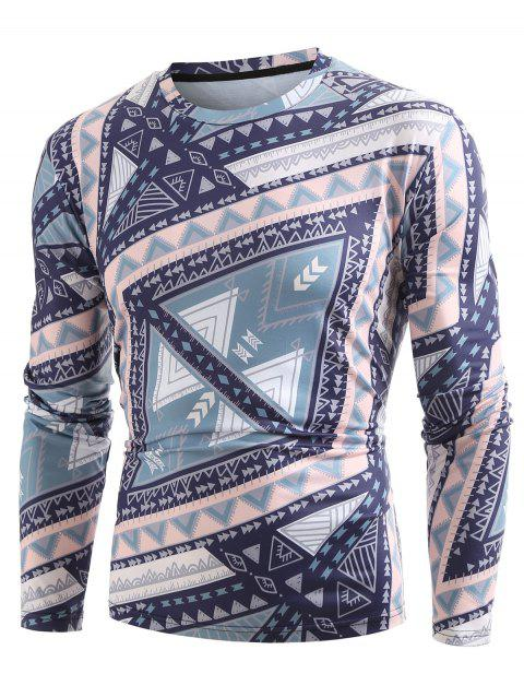 Crew Neck Geometrical Printed Casual Tee - multicolor XL