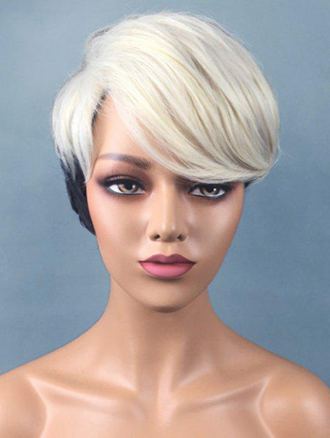 Short Side Fringe Two Tone Straight Synthetic Wig - multicolor
