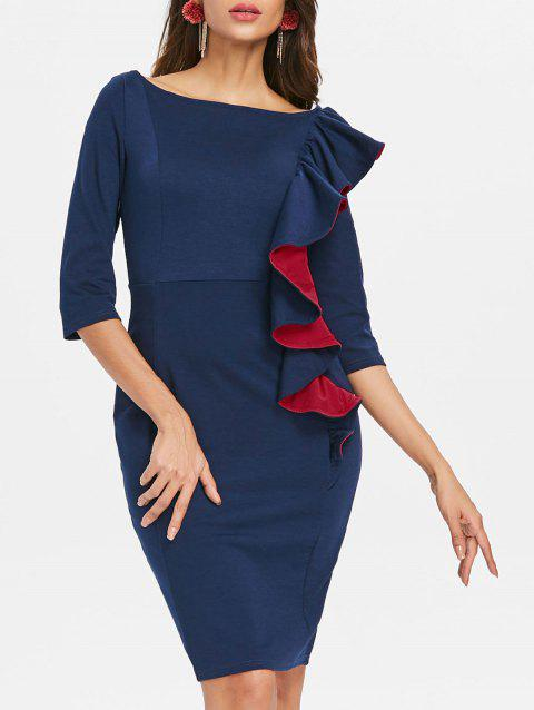 Ruffled Bodycon Dress - DEEP BLUE 2XL