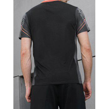 Netty Back Geometric Print Faster Moisture Absorption Gym Tee - NATURAL BLACK L