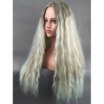 Long Center Parting Corn Hot Wavy Colormix Synthetic Wig - multicolor
