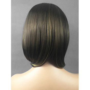 Short Side Bang Straight Bob Highlighted Synthetic Wig - multicolor