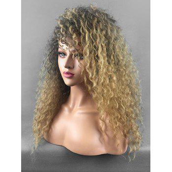 Long Side Fringe Fluffy Curly Colormix Synthetic Wig - multicolor