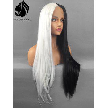 Long Center Parting Straight Two Tone Party Lace Front Synthetic Wig - multicolor
