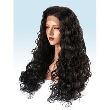 Long Side Parting Loose Wave Synthetic Fiber Lace Front Wig - BLACK