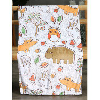 Animal Pattern Flannel Soft Bed Blanket - multicolor W51 INCH*L59 INCH