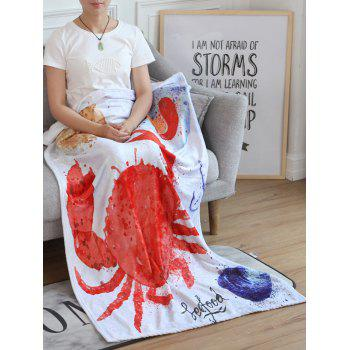 Crab Pattern Flannel Soft Bed Blanket - multicolor W27.6INCH*L39.4INCH