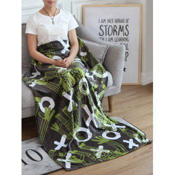 Robot Pattern Flannel Soft Bed Blanket - multicolor W51 INCH*L59 INCH