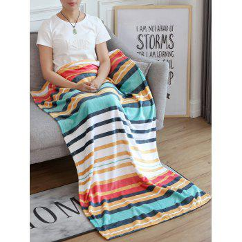 Striped Pattern Flannel Soft Bed Blanket - multicolor W51 INCH*L59 INCH
