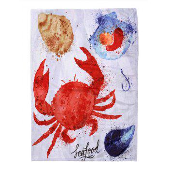 Crab Pattern Flannel Soft Bed Blanket - multicolor W31 INCH*L59 INCH