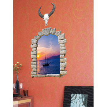3D Broken Wall Brick Sunset Printed Removable Wall Sticker - multicolor