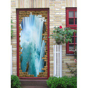 3D Broken Brick Wall Waterfall Printed Door Art Stickers - multicolor 38.5*200CM*2PCS