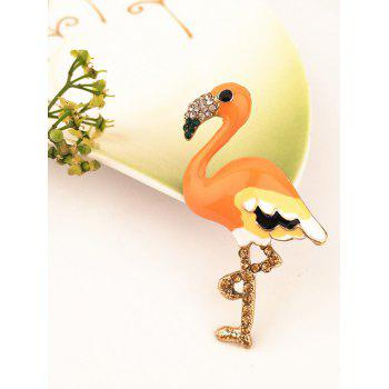 Rhinestone Inlaid Flamingo Shirt Pin Brooch - ORANGE