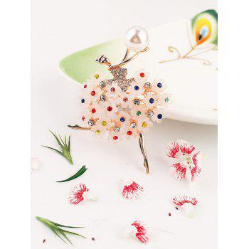 Stylish Colored Rhinestone Faux Pearl Pin Brooch - multicolor