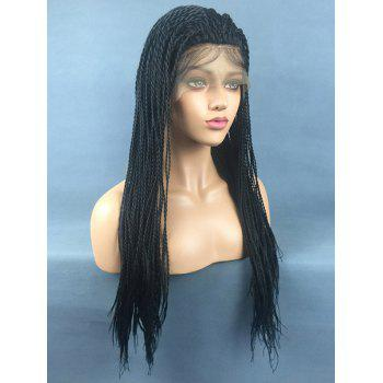 Long Free Part Twist Braids Synthetic Lace Front Wig - BLACK