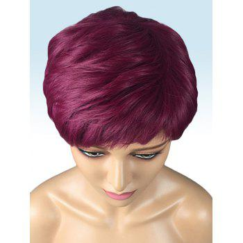 Short Inclined Bang Layer Straight Cosplay Synthetic Wig - RED WINE
