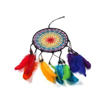 Colorful Feathers Fringed Handmade Dream Catcher - multicolor 60*20CM