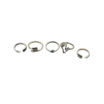 Faux Gemstone Decoration Rings Set - SILVER ONE-SIZE
