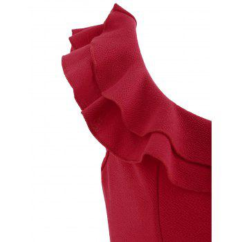 Ruffle Insert Bodycon Dress - LOVE RED L