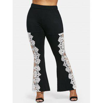 Plus Size Lace High Waisted Flare Leggings - BLACK 2X
