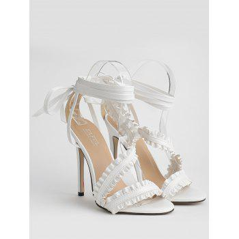 Leisure High Heel Ruffles Lace Up Sandals - WHITE 37