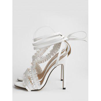 Leisure High Heel Ruffles Lace Up Sandals - WHITE 38