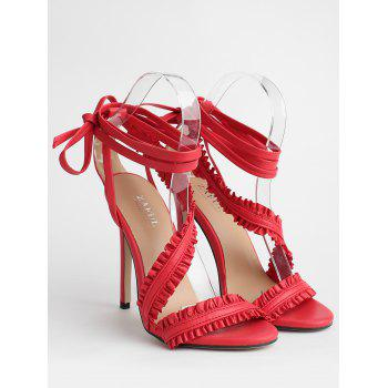 Leisure High Heel Ruffles Lace Up Sandals - CHESTNUT RED 40