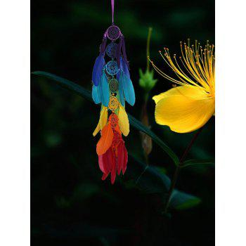 Colorful Feathers Fringed Dream Catcher Wall Hanging - multicolor 66*10CM